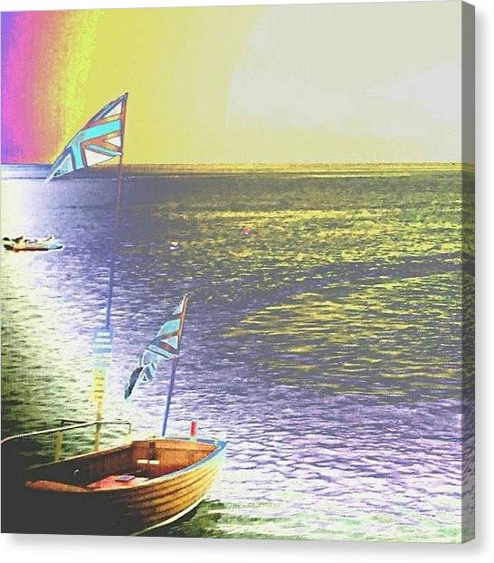 Floss Canvas Print - #boat #boss #ocean #rainbows #art by Candy Floss Happy
