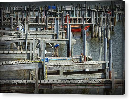 Abstract Seascape Canvas Print - Boat Docks In Lake Macatawa by Randall Nyhof