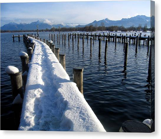 boat harbour at Lake Chiemsee in winter Canvas Print
