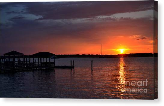 Boat House Sunset  Canvas Print