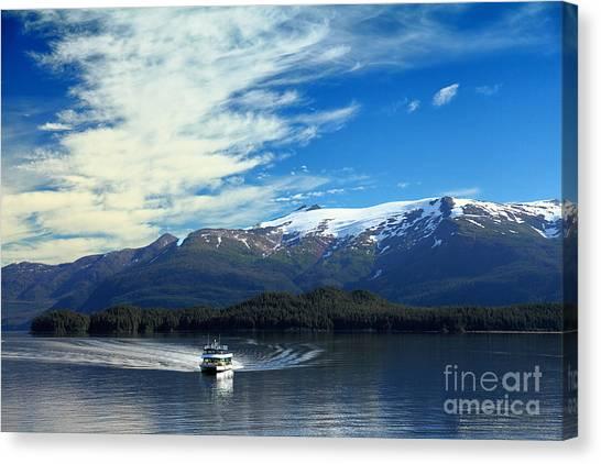 Boat In Alaska Fjord Canvas Print
