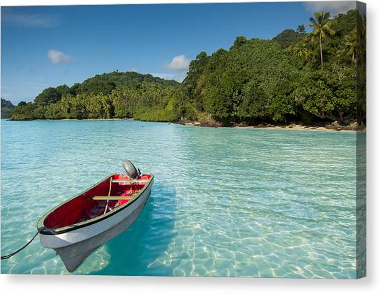 Boat In Lagoon Canvas Print