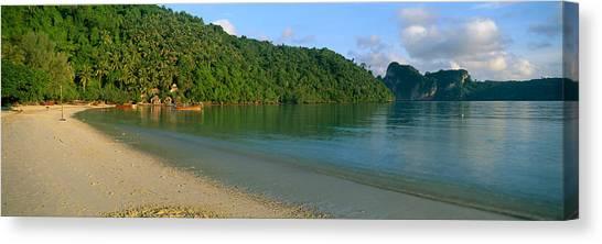 Phi Phi Island Canvas Print - Boat In The Sea, Loh Dalam Bay, Phi Phi by Panoramic Images