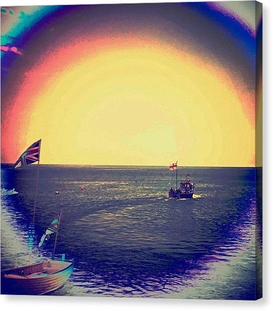 Floss Canvas Print - #boat #ocean #sea #beach #rainbow by Candy Floss Happy