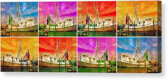 Shrimp Boats Canvas Print - Boat Of A Different Color by Betsy Knapp