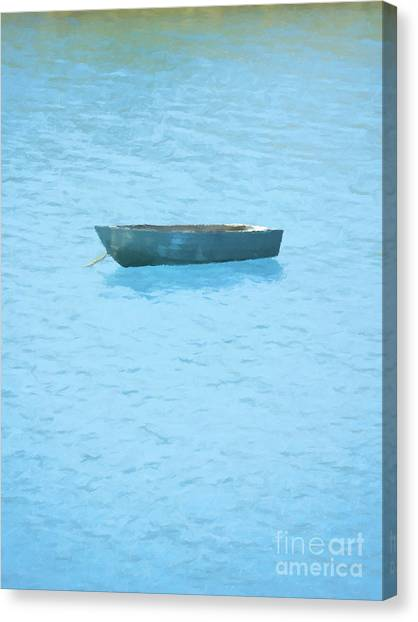 Water Canvas Print - Boat On Blue Lake by Pixel Chimp