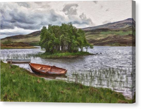 Boat On Lake Bank 1929 Canvas Print
