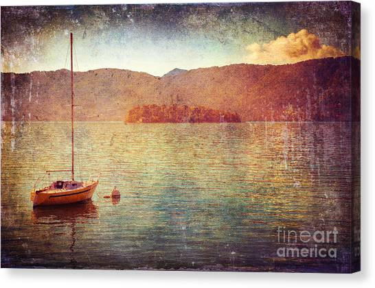 Boat On Lake Maggiore Canvas Print
