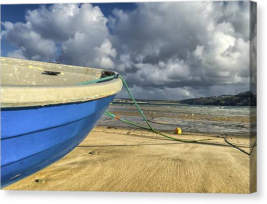 Blue Boat At St Ives Canvas Print