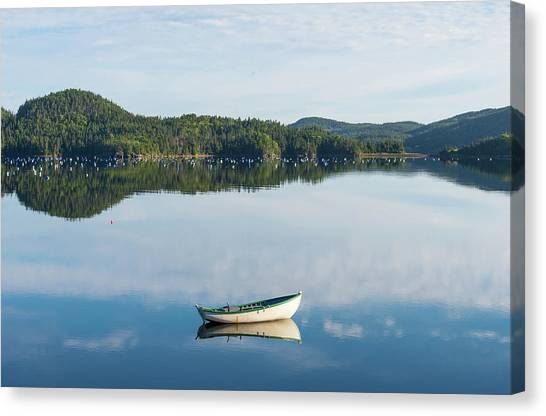 Newfoundland And Labrador Canvas Print - Boat Reflection And Buoys On A Mussel by Panoramic Images