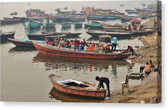 Canvas Print featuring the photograph The Journey - Varanasi India by Kim Bemis