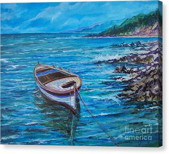 Boat Canvas Print by Sinisa Saratlic