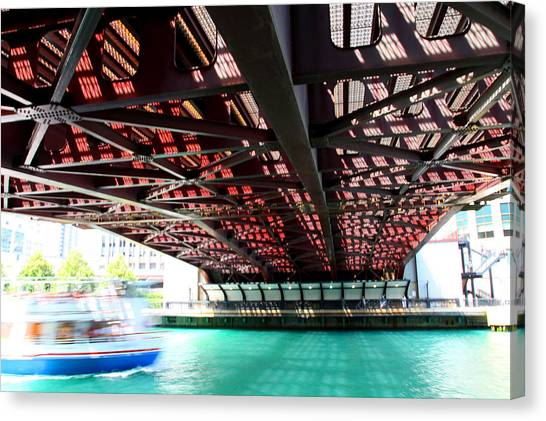 Boat Under Steel Bridge Canvas Print