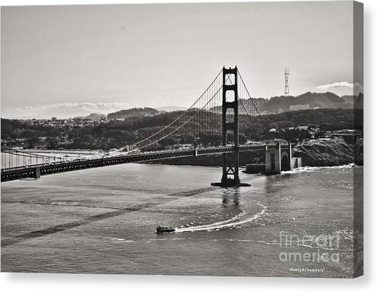 Boating Under The Golden Gate Canvas Print