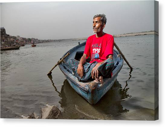 Ganges Canvas Print - Boatman by Louis Kleynhans