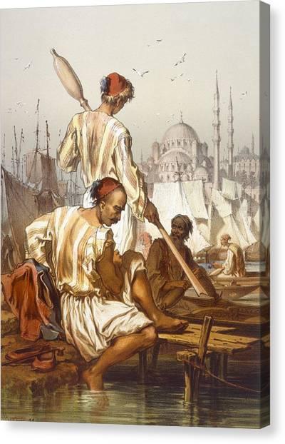 Turkish Canvas Print - Boatmen, 1865 by Amadeo Preziosi
