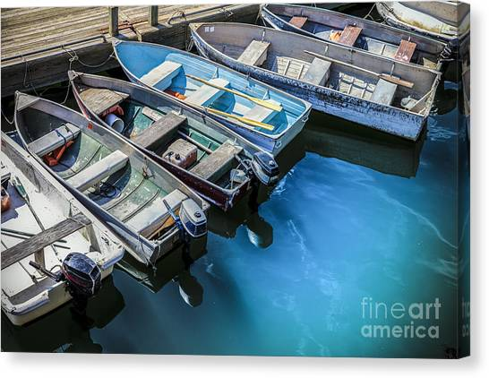 Rowboats Canvas Print - Boats At Bar Harbor Maine by Diane Diederich