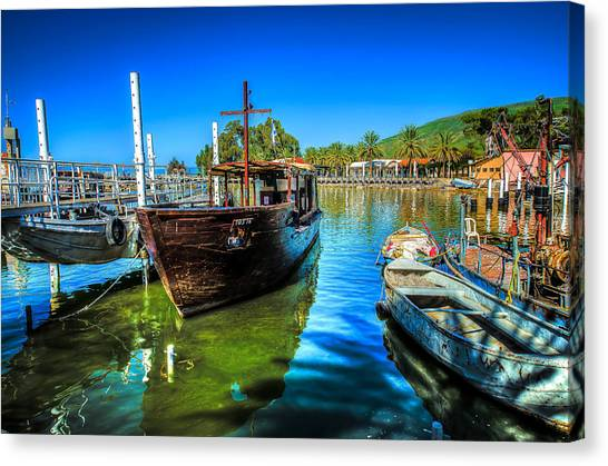 Boats At Kibbutz On Sea Galilee Canvas Print