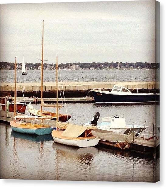 Rhode Island Canvas Print - Boats At Rest In Newport Harbor by Jason Fourquet