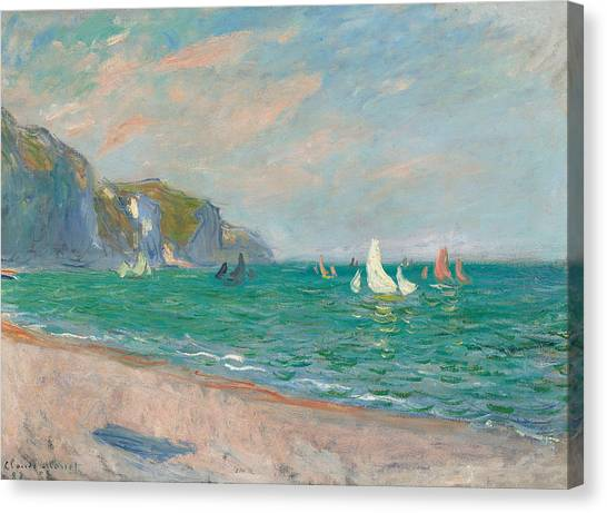 French Impressionist Canvas Print - Boats Below The Pourville Cliffs by Claude Monet
