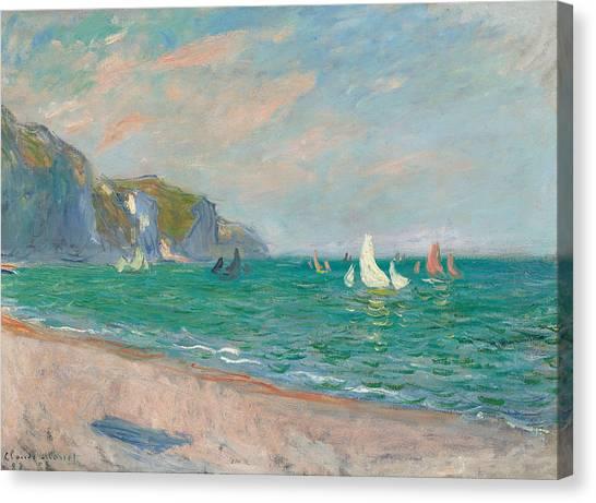 Painters Canvas Print - Boats Below The Pourville Cliffs by Claude Monet
