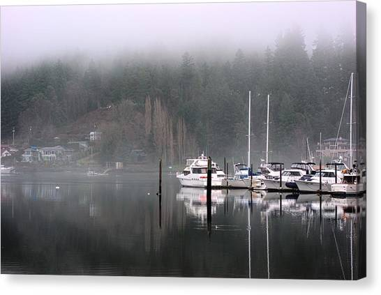 Boats Between Water And Fog Canvas Print