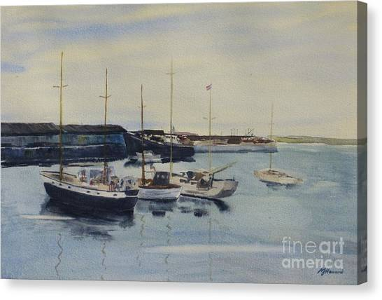 Boats In A Harbour Canvas Print
