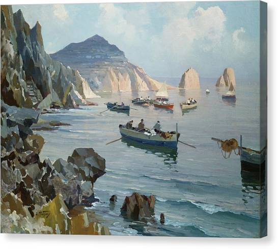 Harbour Canvas Print - Boats In A Rocky Cove  by Edward Henry Potthast