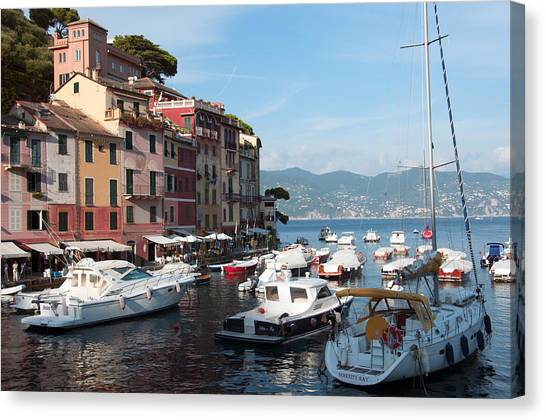 Boats In An Italian Harbor Canvas Print