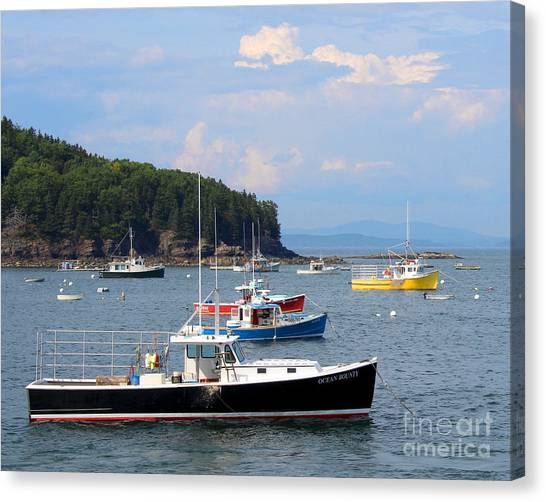 Boats In Bar Harbor Canvas Print