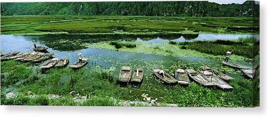 Vietnamese Canvas Print - Boats In Hoang Long River, Kenh Ga by Panoramic Images