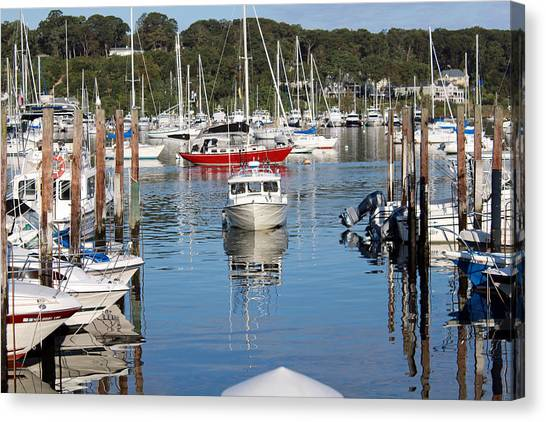 Boats In Huntington Harbor Canvas Print
