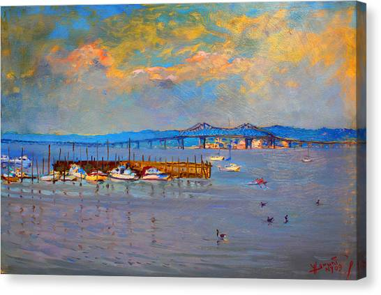 Ducks Canvas Print - Boats In Piermont Harbor Ny by Ylli Haruni