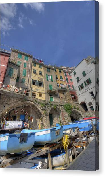 Boats In Riomaggiore Canvas Print