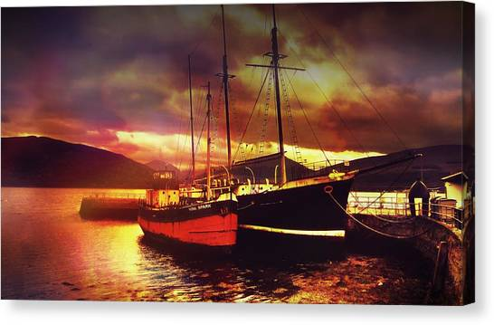 Colourful Canvas Print - Boats In Scotland by Chris Drake