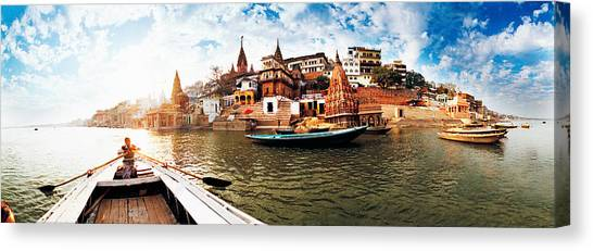 Ganges Canvas Print - Boats In The Ganges River, Varanasi by Panoramic Images