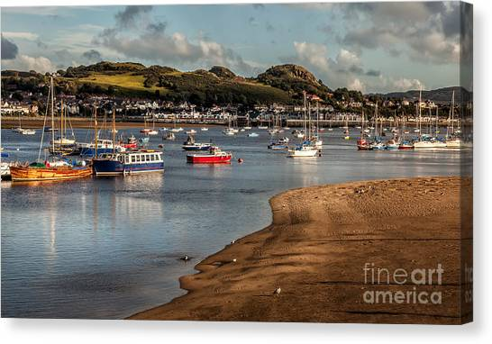 Schooner Canvas Print - Boats In The Harbour by Adrian Evans