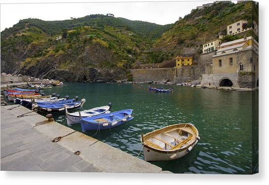 Boats In Vernazza Canvas Print