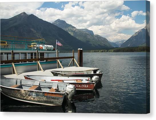 Boats On Lake Mcdonald Canvas Print