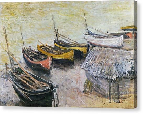 On The Beach Canvas Print - Boats On The Beach by Claude Monet