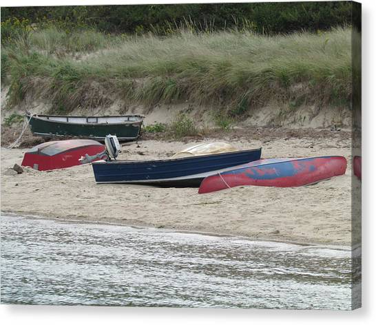 Boats On The Beach Canvas Print by Marci Spotts