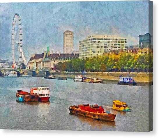 Boats On The River Thames And The London Eye Canvas Print