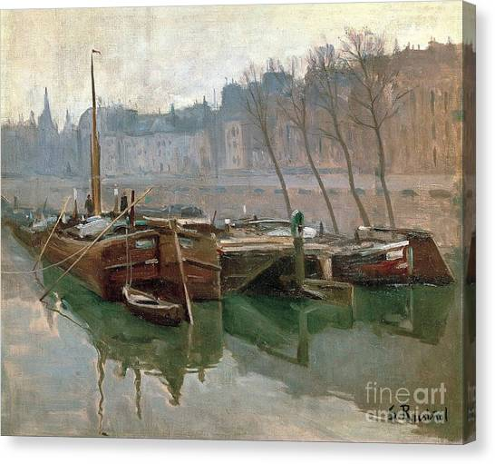 Boats On The Seine Canvas Print by Roberto Prusso