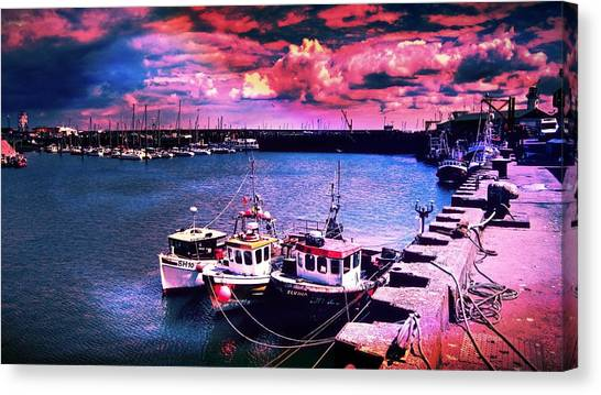 Lighthouses Canvas Print - Boats Scarborough England by Chris Drake