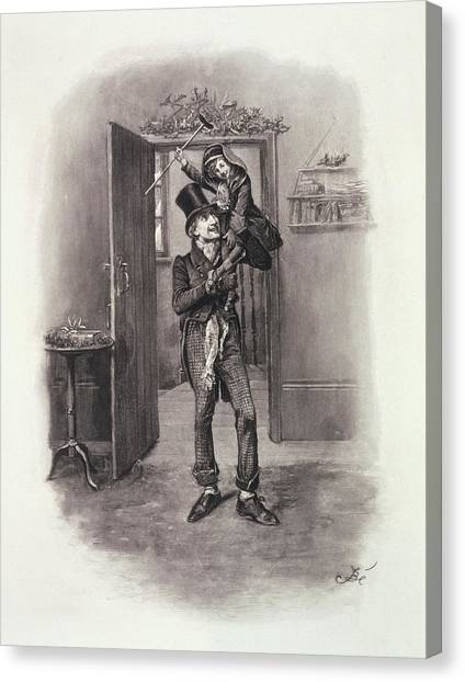Braces Canvas Print - Bob Cratchit And Tiny Tim by Frederick Barnard
