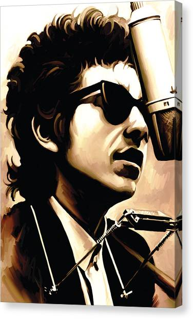 Bob Dylan Canvas Print - Bob Dylan Artwork 3 by Sheraz A