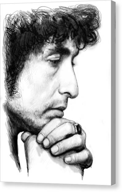 Bob Dylan Canvas Print - Bob Dylan Blackwhite Drawing Sketch Poster by Kim Wang