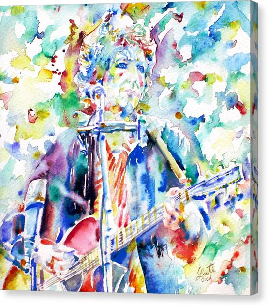 Harmonicas Canvas Print - Bob Dylan Playing The Guitar - Watercolor Portrait.1 by Fabrizio Cassetta