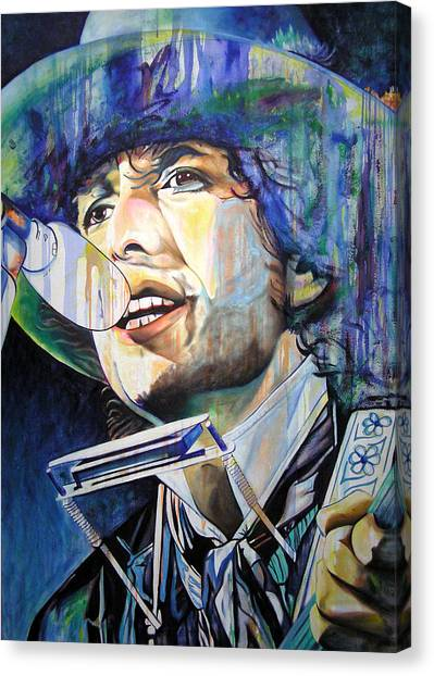 Bob Dylan Canvas Print - Bob Dylan Tangled Up In Blue by Joshua Morton
