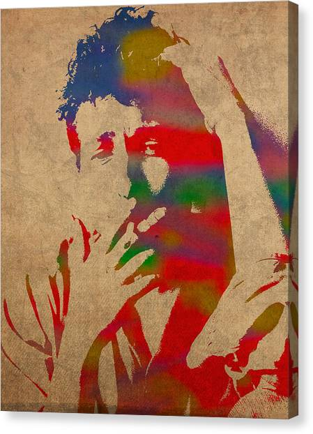 Bob Dylan Canvas Print - Bob Dylan Watercolor Portrait On Worn Distressed Canvas by Design Turnpike